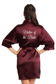 White Thread Embroidered Mother of the Bride Satin Robe Crop