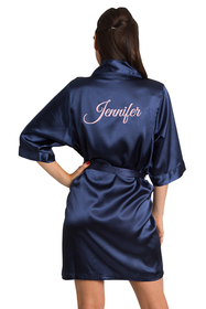custom embroidered blue robe