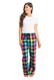 zynotti Women's Custom Print neon Flannel plaid Pajama lounge sleepwear Pants