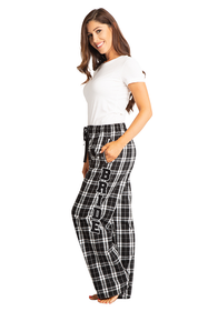 Zynotti Bride Print Black and White Plaid Flannel Pajama Lounge Wear Pants