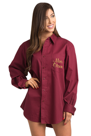 Zynotti personalized embroidered oversized burgundy oxford shirt