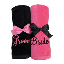 "Groom &  Bride Beach Towel Sample ""Black and Bright Pink"""