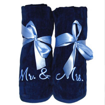 "Mr. & Mrs. Beach Towel Sample ""Navy"""