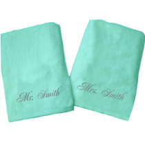 "Mr. Smith and Mrs. Smith Beach Towel Sample ""Mint"""