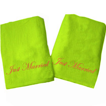 "Just Married Beach Towel Sample ""Lime Green"""