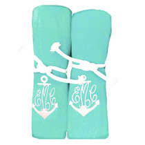 "Monogram Anchor Beach Towel Sample ""Mint"""