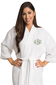 Zynotti's Embroidered Monogram Waffle Weave Thigh Length Robe