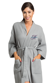 Zynotti's Personalized Embroidered Overlay Thigh Length Waffle Weave Robe
