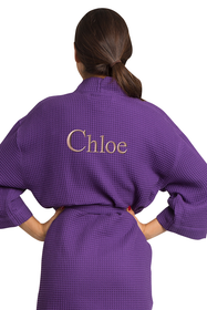 Zynotti's Personalized Embroidered Waffle Thigh Length Robe