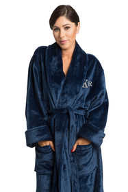 Zynotti's Unisex Embroidered Monogram Microfleece Shawl Robe