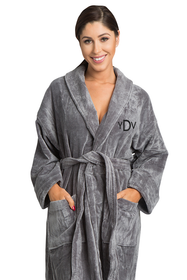 Zynotti's Unisex Embroidered Monogram Velour Shawl Robe