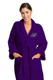 Zynotti's Women's Embroidered Overlay Velour Shawl Robe