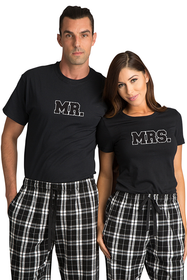 Zynotti Mr. and Mrs. Couple Matching Black and White Flannel Pajama Pants Set