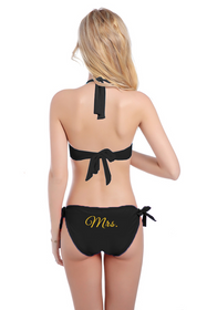 Glitter Print Mrs. Bikini With Halter Top and Sash Tie Bottom