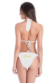 Custom Glitter Print Bride String Bikini Swimwear