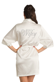 Zynotti's Rhinestone Wifey Satin Robe in Ivory