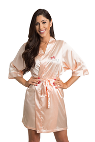 Personalized Rhinestone Monogram Satin Robe with Bow