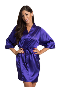 Personalized Rhinestone Anchor Monogram Satin Robe