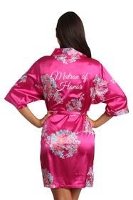 Zynotti Fuchsia Floral Matron of Honor Satin Robe