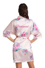 Zynotti Glitter Print Pink Floral Bridesmaid Satin Robe