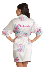Zynotti Glitter Print Off-White Floral Bridesmaid Satin Robe