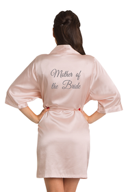 Silver Thread Embroidered Mother of the Bride Satin Robe