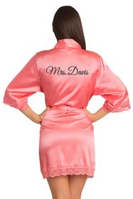 Zynotti Personalized Glitter Print Mrs. Lace Satin Robe