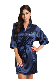 Zynotti's Personalized embroidered Overlay Name Design Robe in Navy