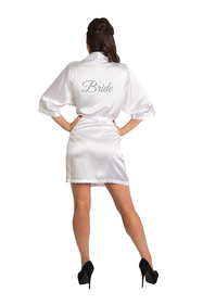 White Silver Glitter Bride Satin Robe Full
