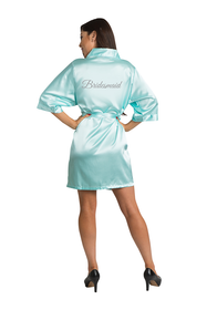 Silver Glitter Bridesmaid Satin Robe