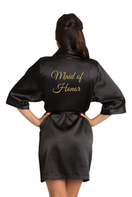 Gold Glitter Maid of Honor Satin Robe