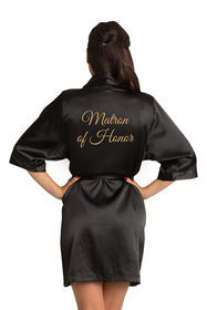 Gold Glitter Matron of Honor Satin Robe