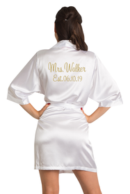 Zynotti Personalized Embroidered Mrs. Satin Robe with EST. Date