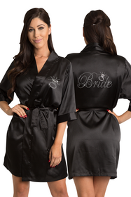 Zynotti's Rhinestone Bride Satin Kimono Robe with Diamond in Black