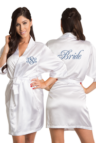 Personalized Embroidered Monogram Bride Satin Robe