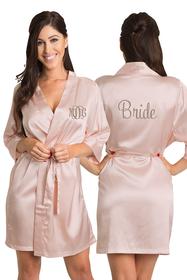 Personalized Embroidered Monogram Bride Satin Robe