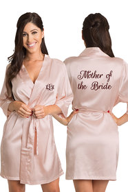 ZYNOTTI Personalized Embroidered Monogram Mother of the Bride Satin Robe