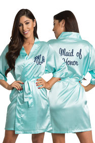 Personalized Embroidered Monogram Maid of Honor Satin Robe