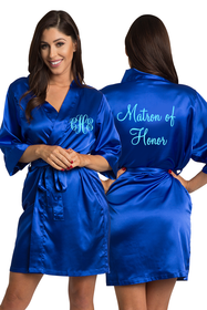 Personalized Embroidered Monogram Matron of Honor Satin Robe