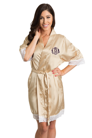 Zynotti's White Lace Monogram Satin Robe in  Champagne