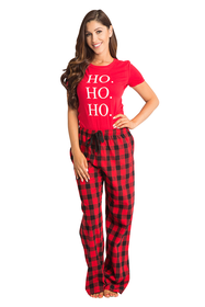 Zynotti Christmas Holiday ho ho ho women red tee shirt top