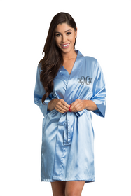 Zynotti's Personalized Rhinestone Monogram Satin Robe