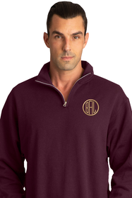Zynotti Men's Personalized Custom Embroidered Monogram Quarter Zip Burgundy Maroon Pullover Sweater