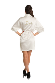Gold Thread Embroidered Bride Satin Robe