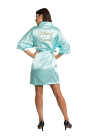 Gold Thread Embroidered Maid of Honor Satin Robe