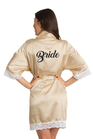 Zynotti Custom Glitter Print Bride Champagne Satin Robe with White Lace Trim