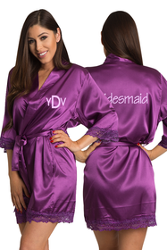 Personalized Embroidered Monogram Bridesmaid Lace Satin Robe