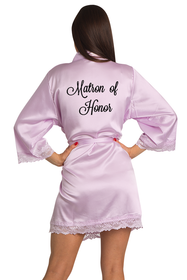 Zynotti Embroidered Matron of Honor Lavender Satin Robe with Lavender Lace Trim