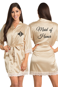 Zynotti Embroidered Monogram Maid of Honor Champagne Satin Robe with Champagne Lace Trim