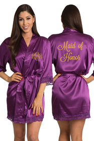 Zynotti Embroidered Monogram Maid of Honor Eggplant Satin Robe with Eggplant Lace Trim